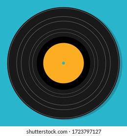 Flat vintage vinyl plate isolated vector illustration. Retro abstract design template. Party poster.