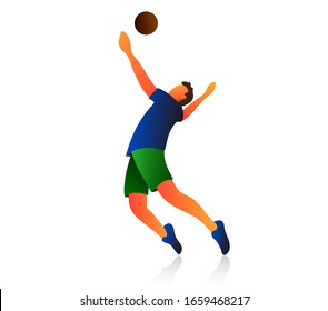 Flat volleyball player vector illustration. Isolated volleyball player on a white background.