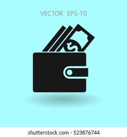 Flat Wallet icon, vector illustration