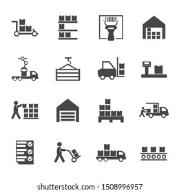 Flat warehouse logistics icons collection with truck loading barcode scanner pallets with boxes scales forklift checklist storage building conveyor belt container. Isolated vector illustration