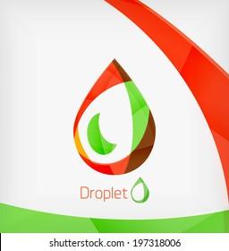 Flat water drop geometric shape concept. Colorful corporate business template