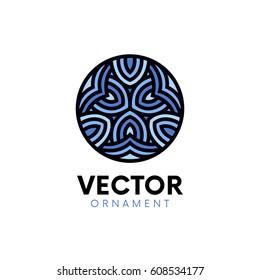 Flat wave logo ornament circle mandala symbol vector design.