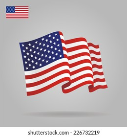 Flat and waving American Flag. Vector illustration