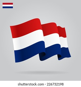 Flat and waving Dutch Flag. Vector illustration