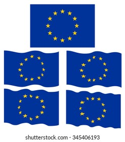 Flat and Waving Flag of Europe Country