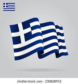 Flat and waving Greek Flag. Vector illustration