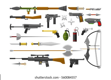 Flat weapons collection vector. Machine pistol automatic set. Military weaponry bullets, supplies, cartridges and grenade launcher, automatic bullets