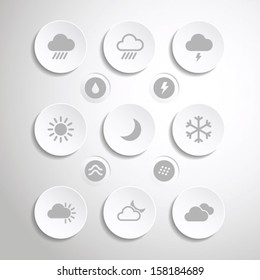 Flat weather icons set for mobile apps and web