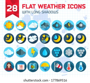 Flat weather Icons Set for Web and Mobile Applications