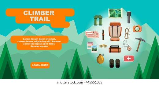 Flat web banner on the theme of tourism, travel, outdoor recreation, adventure in nature.