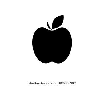 Flat web black apple icon. Vector illustration.