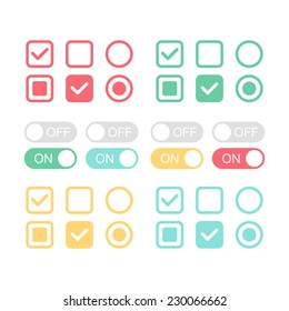 Flat web design elements. On and off position. Check mark. Template for app and website. Vector illustration