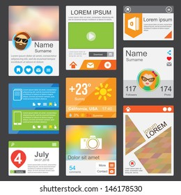 Flat Web Design elements. Templates for website or phone application