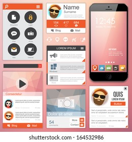 Flat Web Design elements. Templates for website or applications.