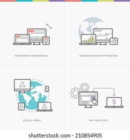 Flat web development concepts minimal vector computer line style