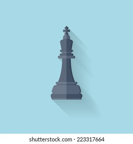 Flat web icon. Chess figure