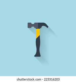 Flat web icon. Hammer