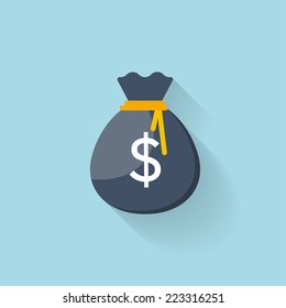 Flat web icon. Money bag