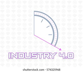 Flat Web Infographics Elements or Logo. Industry 4.0 Concept Business Control, Clock Icon Presentation Design. Internet of Things, Cloud Computing, Network, Future, Automation Detailed Illustration