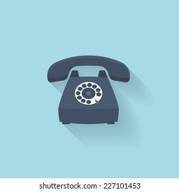 Flat web internet icon. Old vintage retro telephone.