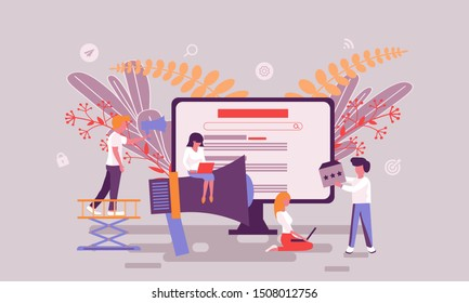 Flat web page design template of advertising homepage or header decorated people character for website and mobile website development. Flat landing page template. Vector illustration.
