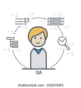 Flat web or print concept illustration of QA and testing signs and symbols: tests structure, tests pass, issue tracker with flat QA vector icon