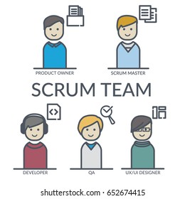 Flat web or print concept illustration of scrum team roles in color solid with bold line vector style such as: product owner, scrum master, developer, QA, UX UI designer and role icons