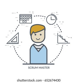Flat web or print  concept illustration of scrum master signs and symbols: estimation, scrum board, scrum meeting, burndown chart and scrum master flat people icon