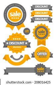 flat web sale badges labels