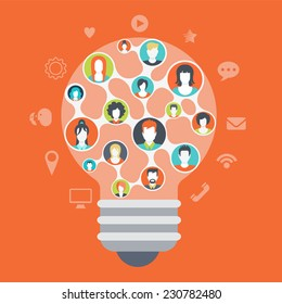 Flat web style modern infographics social media people network connections concept. Light bulb shape idea symbol consists of every creative team member mind. Website icons around connected profiles.