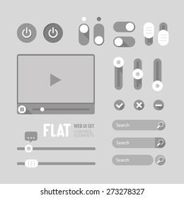 Flat Web UI Elements Design Gray. Elements: Buttons, Switchers, Slider