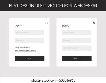 Flat website, mobile UI kit for onlineshop. Vector forms: sign in, sign up. Creative web design.  Vector EPS10 Illustration