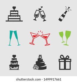 Flat wedding Icon. Wedding vector icon set. Wedding Illustration Icon.