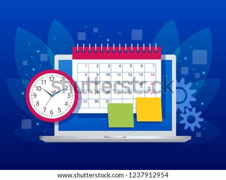 flat weekly schedule calendar planner organization stock vector