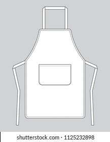 Flat White Apron With Pocket Vector For Template