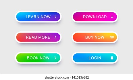 Flat white buttons with falling shadow. Abstract vector buttons for use in web design. Ready isolated web elements on light background.