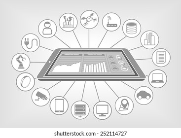 Flat white and grey design vector illustration with smart phone and big data cloud analytics dashboard for internet of things.