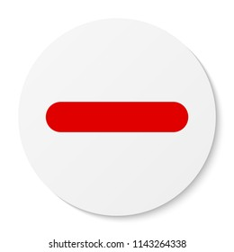 Flat white round sticker minus sign icon, button. Negative symbol isolated on white background.