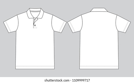 Flat White Short Sleeves Polo Shirt Vector For Template.Front And Back View.