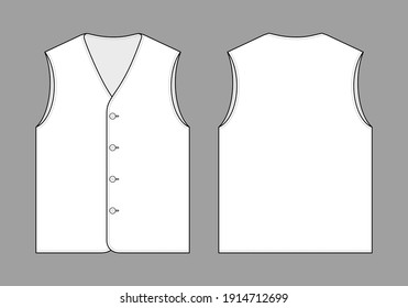 Flat White Vest Template Vector On Gray Background.Front and Back Views.