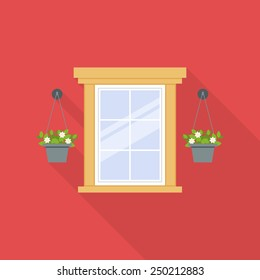 Flat window with flowerpots isolated on red background. Vector illustration