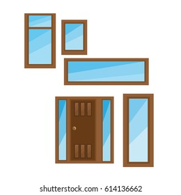 Flat Windows With Gradient Glass And Frame For House