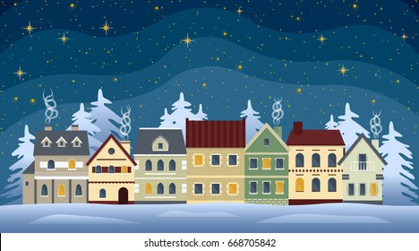 Flat winter cityscape. Snowy city, town or village with falling snow. Urban landscape at night. Vector illustration.