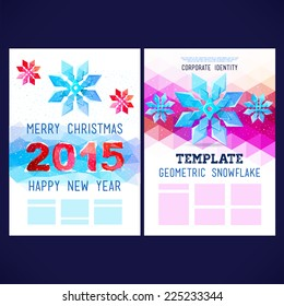 flat winter vector template design with colored geometric snowflakes and geometric figures winter themehappy