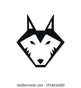flat wolf face icon vektor