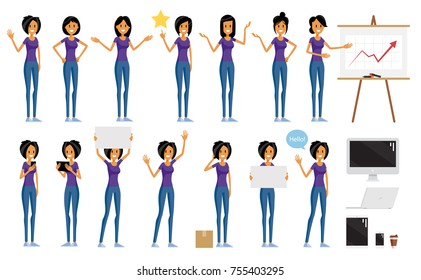 Flat Woman Character Poses with Different Hair Style Haircut Vector Set. Art Collection Simple Design Illustration.