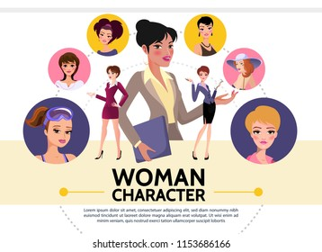 Flat Woman Characters Avatars Collection