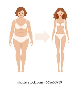Flat women before and after diet vector illustration. Fat and slim girl. Cartoon weight loss woman