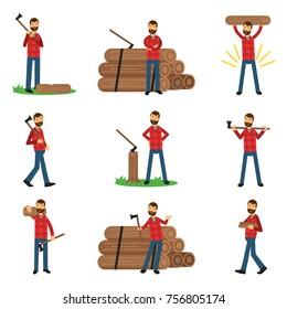 Flat woodcutter cartoon character set in different poses. Man dressed in hipster plaid shirt and blue jeans.
