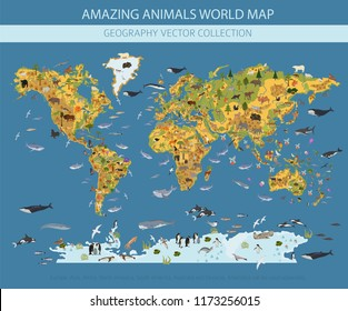 Flat world flora and fauna map constructor elements. Animals, birds and sea life isolated big set. Build your own geography infographics collection. Vector illustration